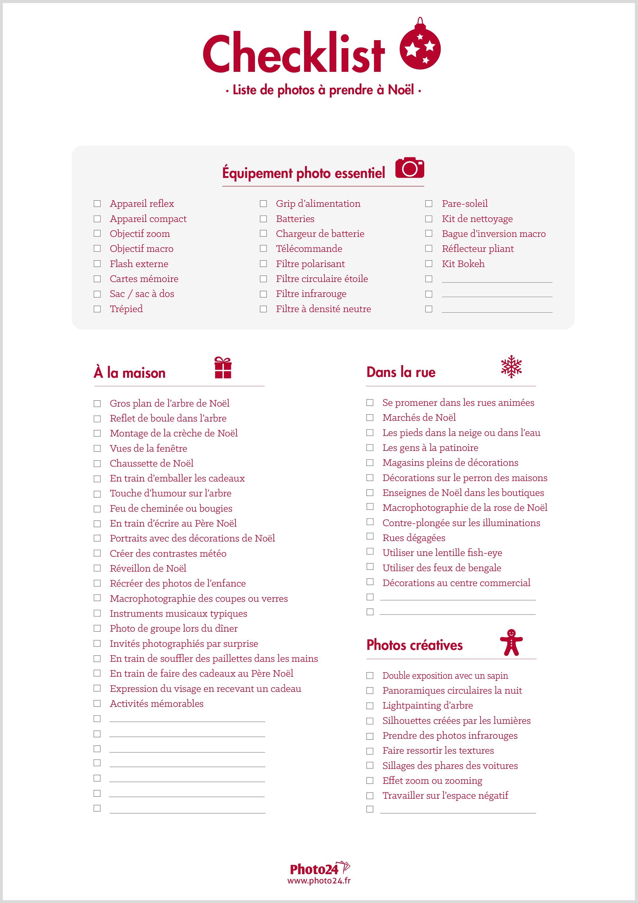Photos à prendre à Noël : checklist à télécharger gratuitement