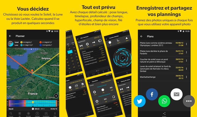 Capture d'écran de l'appli Photopills