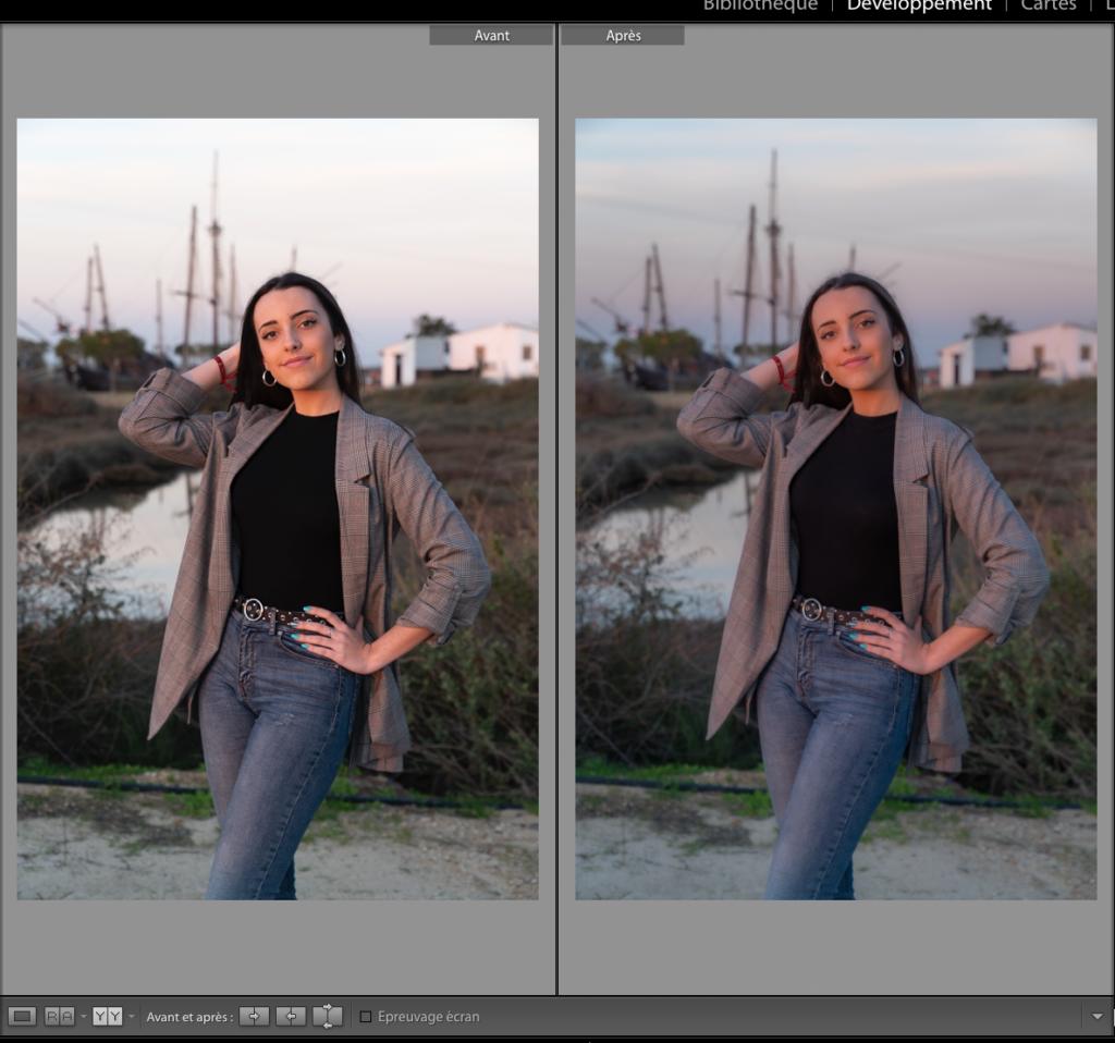 Comparatif avant/après la première étape sur l'édition de portraits