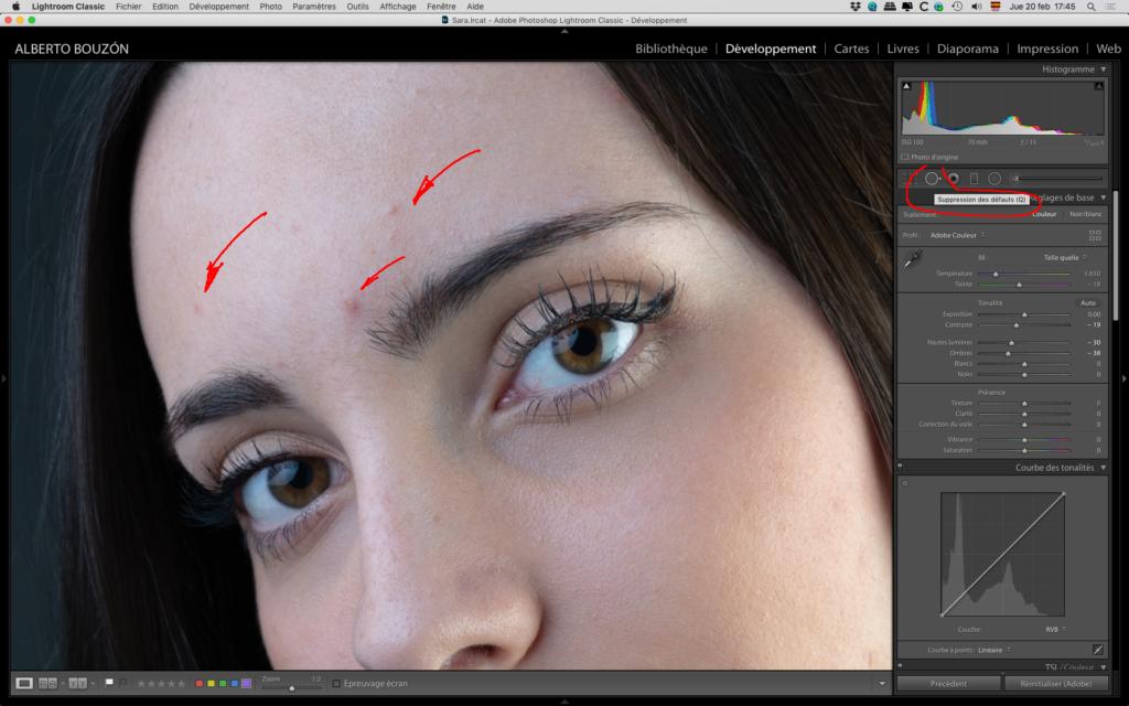 Je corrige les imperfections de la peau dans l'édition de portraits