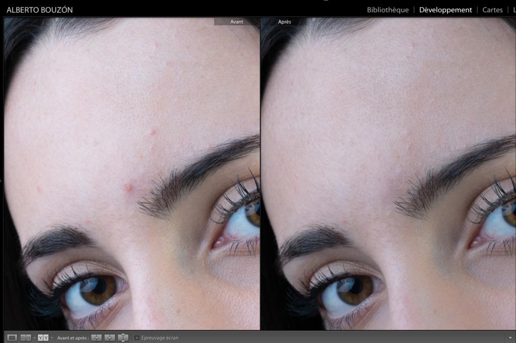 Comparatif avant/après des détails dans l'édition de portraits